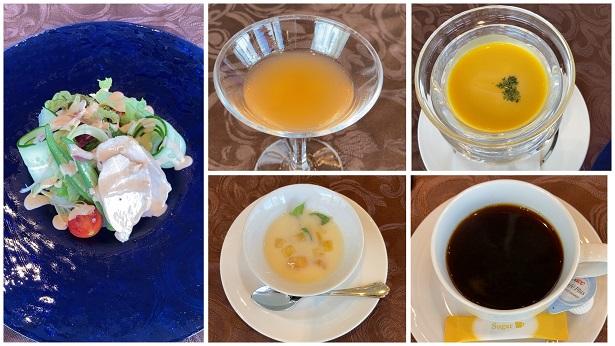 イングリッシュガーデンホテルレアントのランチコースの料理