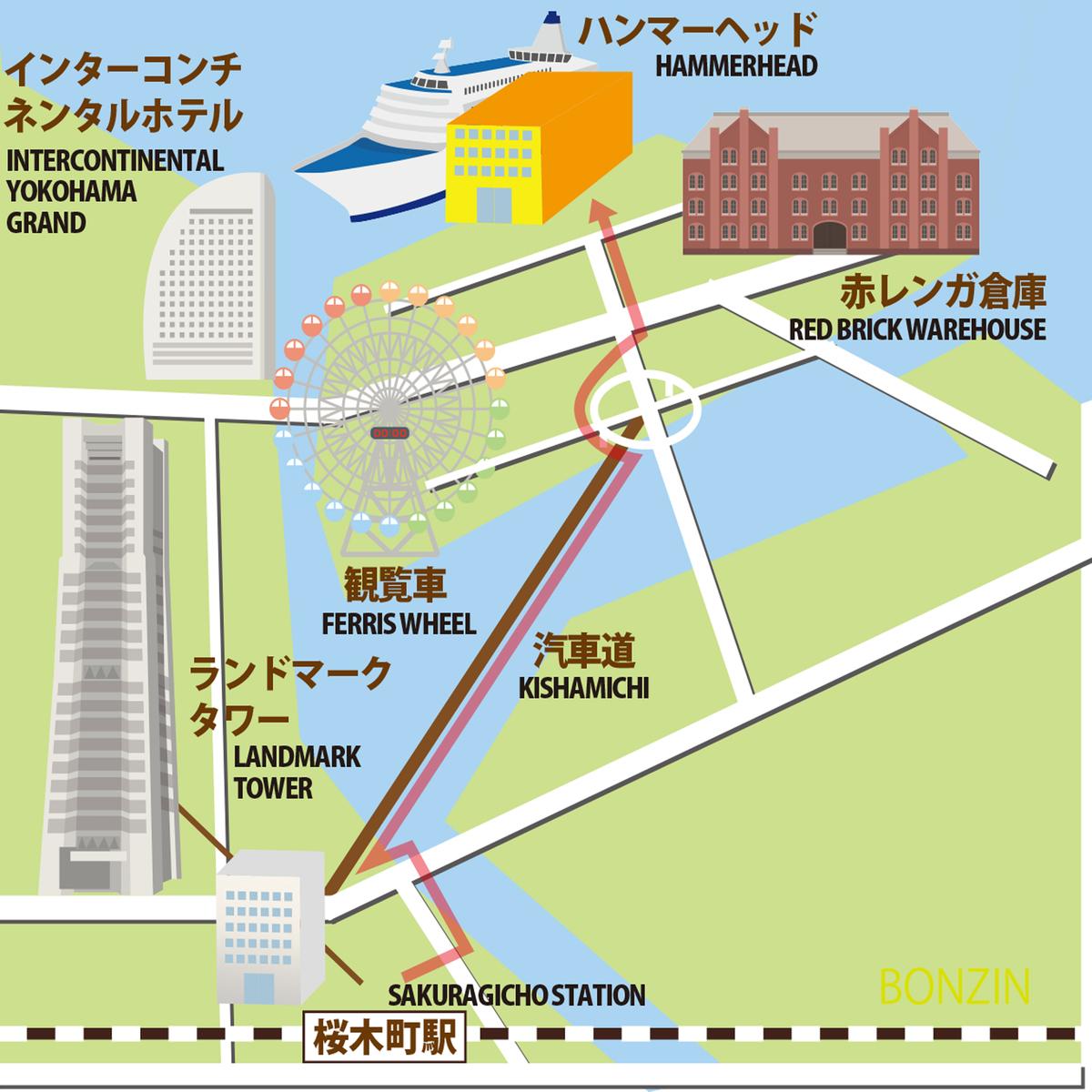 桜木町駅からハンマーヘッドまでの地図