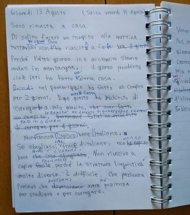 イタリア語で日記を付ける画像