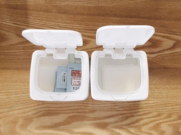 写真:薬の入ったセリアのワンプッシュケース