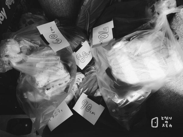 写真:まとめた服の袋たち