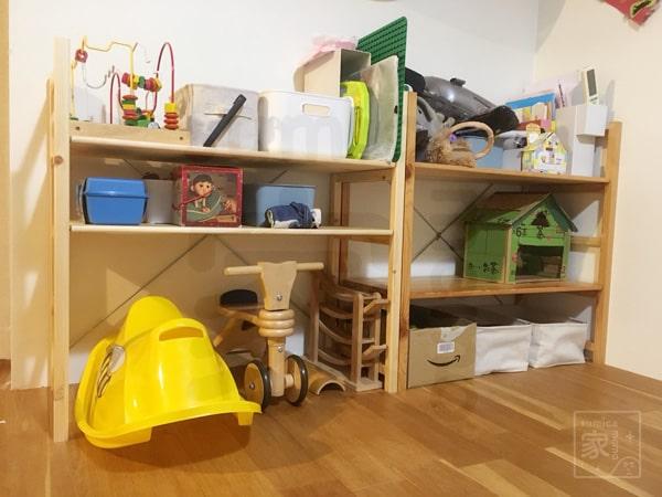 おもちゃ棚の仮設置
