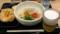 海老しらすうどん&野菜かき揚げ&ビール
