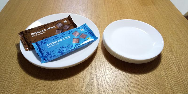 IKEAで購入したお皿とチョコレートの写真