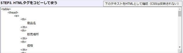 ブログ用に変換された表のタグ