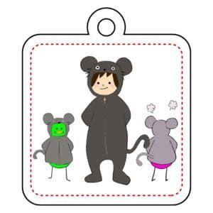 【オリラボマーケット】ネズミの着ぐるみすんこ アクリルキーホルダー四角型