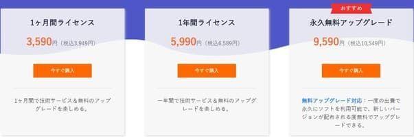 ソフトウェアの価格