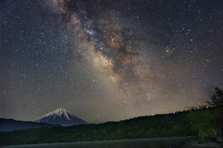富士山と夏の天の川
