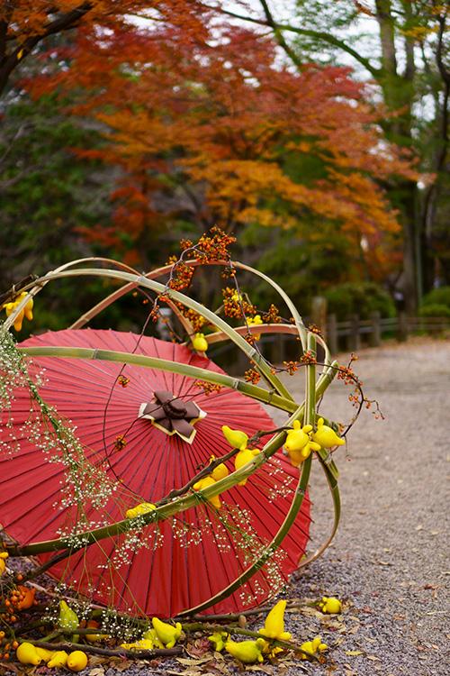喜多院・慈眼堂前に置かれた和傘