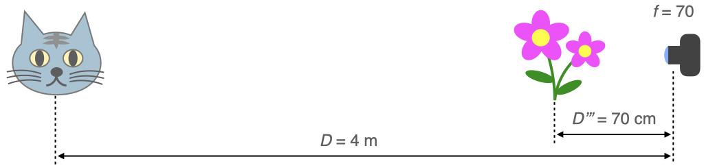"""焦点距離70 mm, D = 4 m, D"""" = 70 cm"""