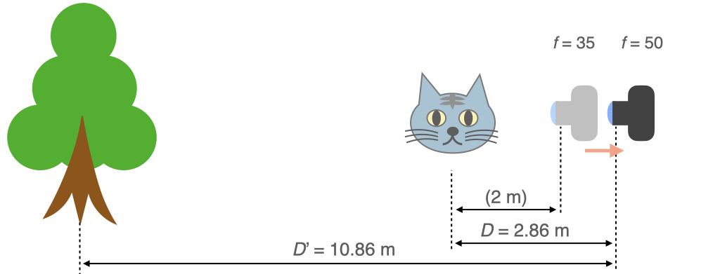 焦点距離50 mmで,被写体が同じ大きさに写るように離れる