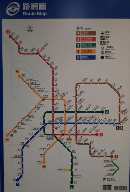 台北メトロ(MRT)の地図
