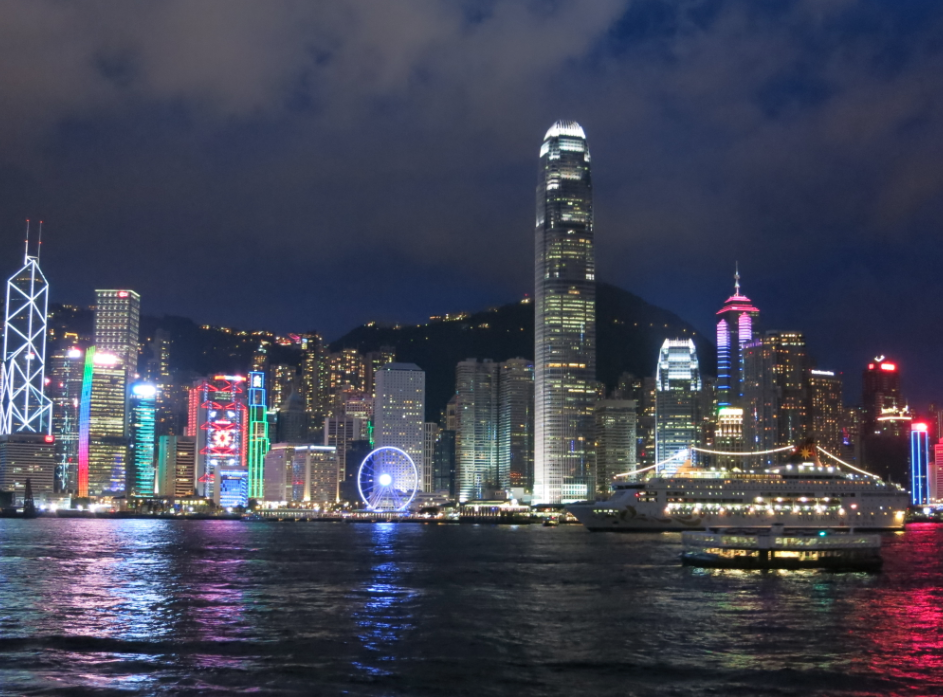 香港のビクトリアハーバーの夜景