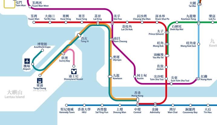 香港のMTRのマップ