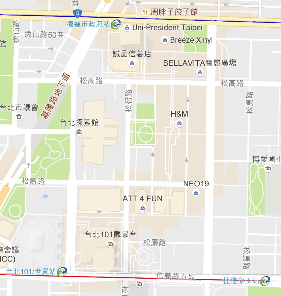台北のナイトクラブの場所