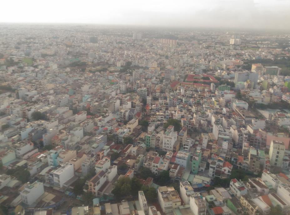 空から見たホーチミンシティの街並み