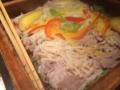 美明豚と水菜の蒸篭蒸し