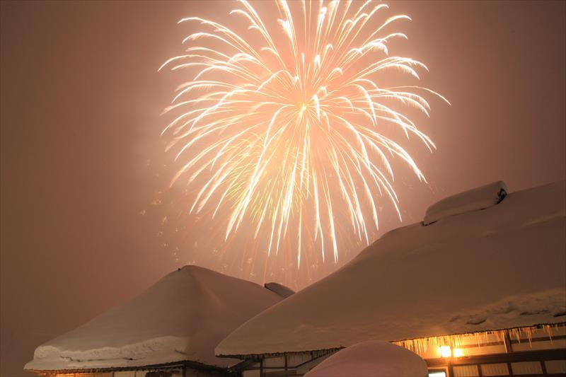 大内宿 雪まつり 冬の花火