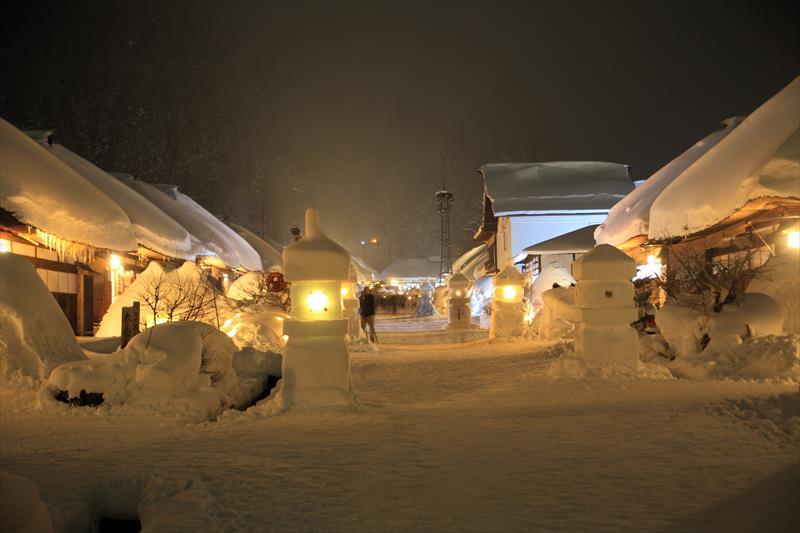 大内宿 雪まつり 夜景