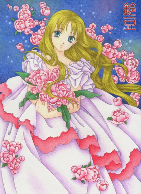 花衣 オリジナル色鉛筆イラスト ジェニーのウェディングドレス 鈴