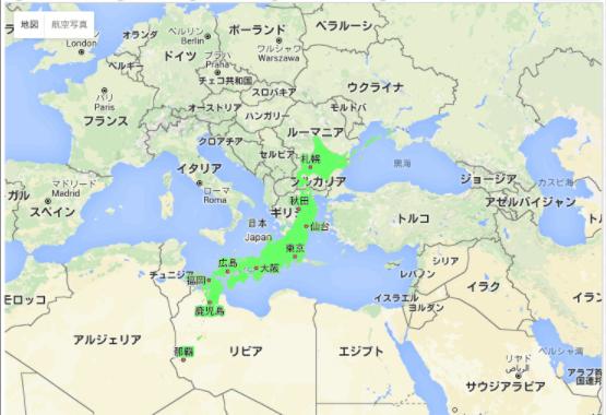 日本イタリア比較地図