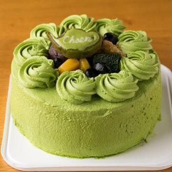 西尾産抹茶を使用したバースデーデコレーションケーキ