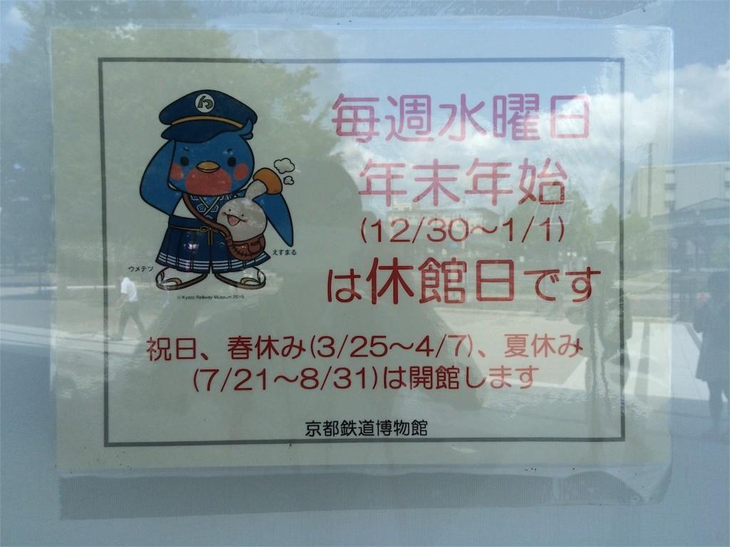 京都鉄道博物館は水曜が休館日