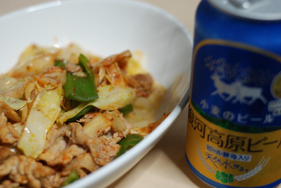 豚キムチとビール