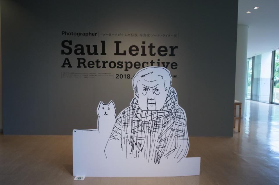 ソール・ライターとネコを模した立て看板。本人の描いたイラストではないらしい。