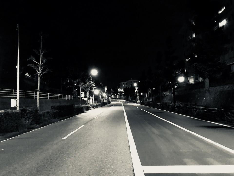 団地前の道路