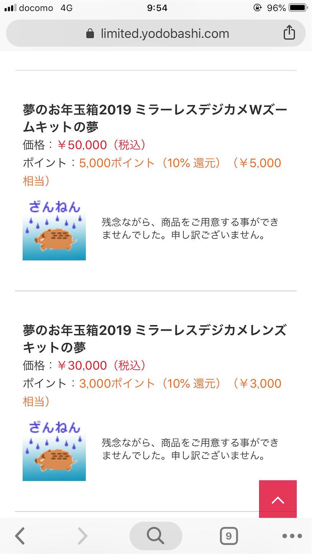 ヨドバシ夢のお年玉箱抽選結果