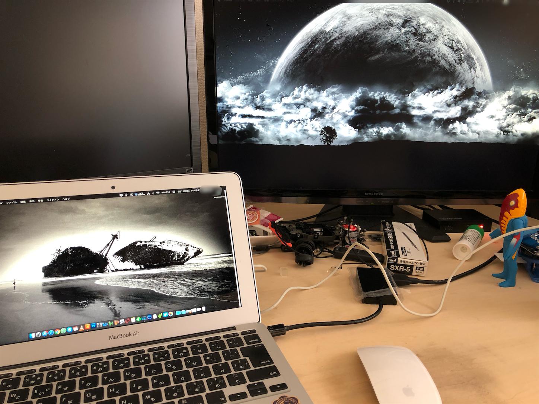 MacbookAirを外部モニターに繋いでみた