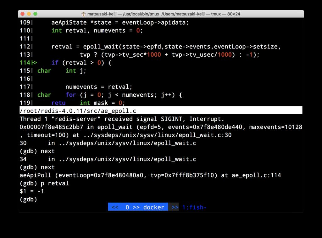 スクリーンショット:pコマンドでretval変数の値を確認している