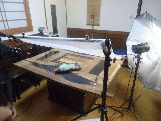 澄風荘で白イカ姿造り撮影会