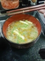 風邪の予防には、なめこ味噌汁。 なか卯もついに割り箸をやめたらし