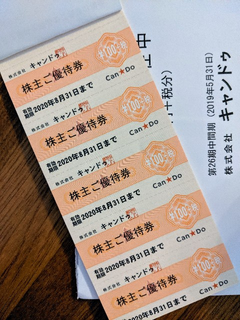 キャンドゥ 2698 株主優待 100円税抜券20枚 2000円分 2020年8月31日まで