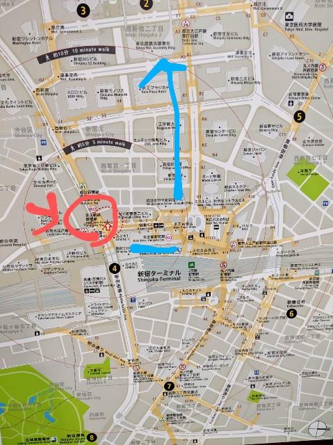 新宿の地図 青色が京王線新宿駅から都庁への道のり、赤色が京王新線新宿駅
