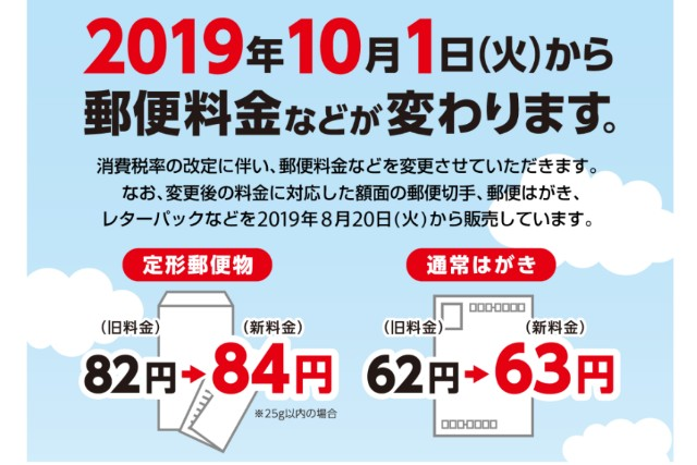 2019年10月1日から郵便料金値上げ