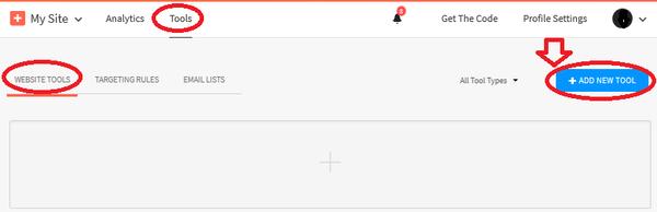 AddThis新規コード作成選択画面
