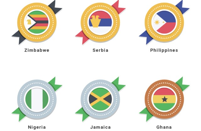 DMM英会話の国籍メダルの画像