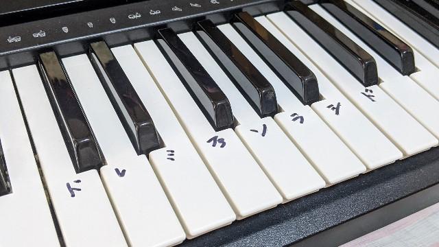 ドレミが手書きしてある電子ピアノの写真