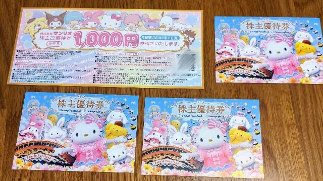 2019サンリオ株主優待(100株保有)
