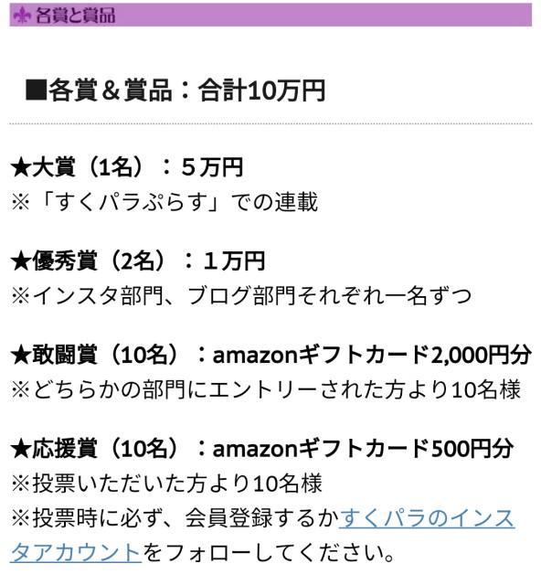 すくパラダブル総選挙の賞金総額10万円の内訳の画像