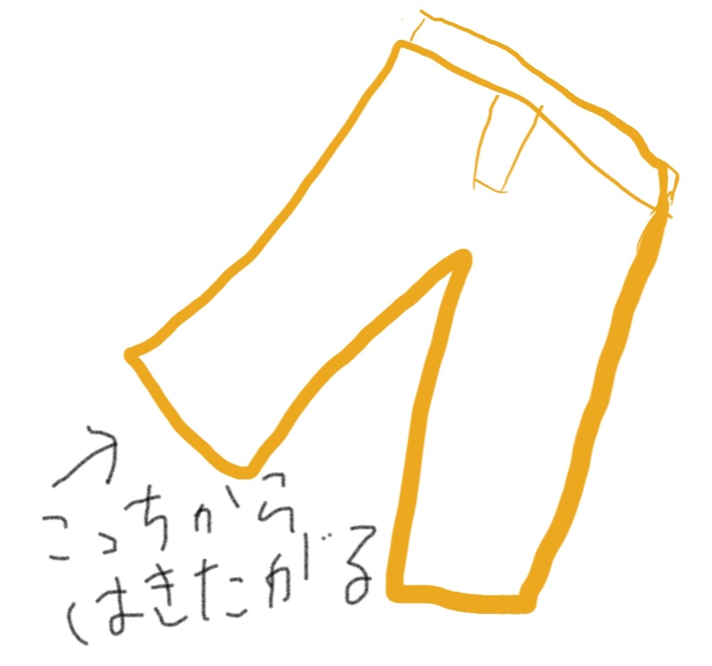 ズボン足の方からはこうとするイラスト、絵