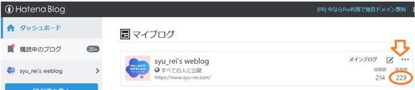 はてなブログのダッシュボード画面の画像