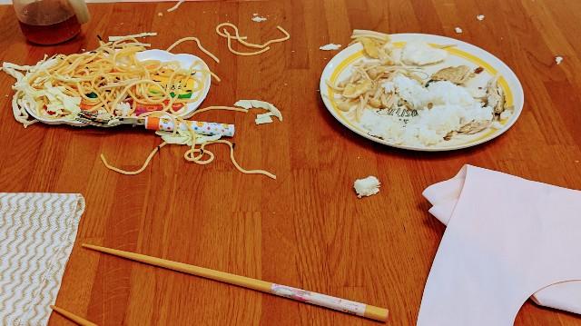 子供の食べ残しの写真