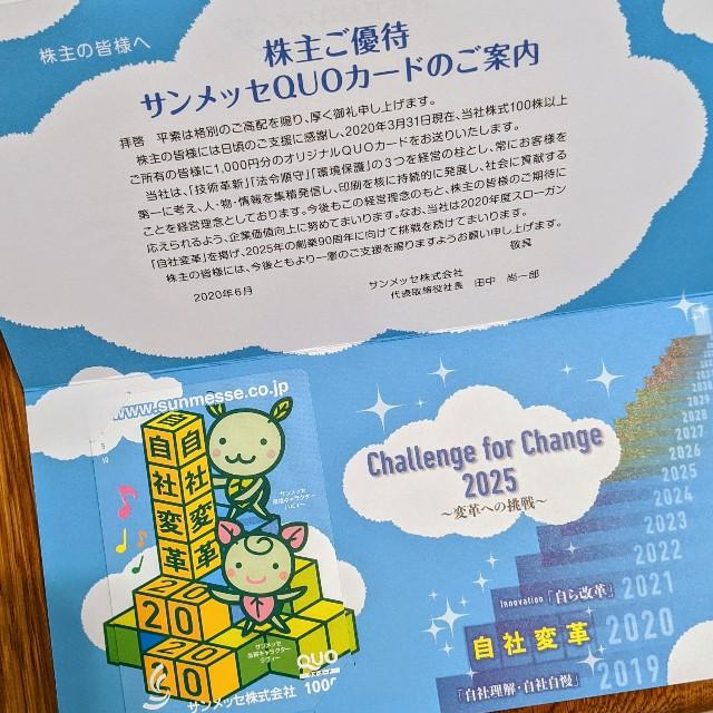 2020サンメッセの株主優待1,000円分クオカードの写真