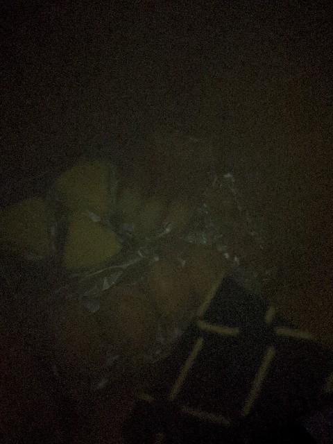 自宅のベランダで燻製中気になって中身を確認するもよく見えない写真