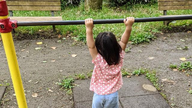 鉄棒にぶら下がる子供の写真