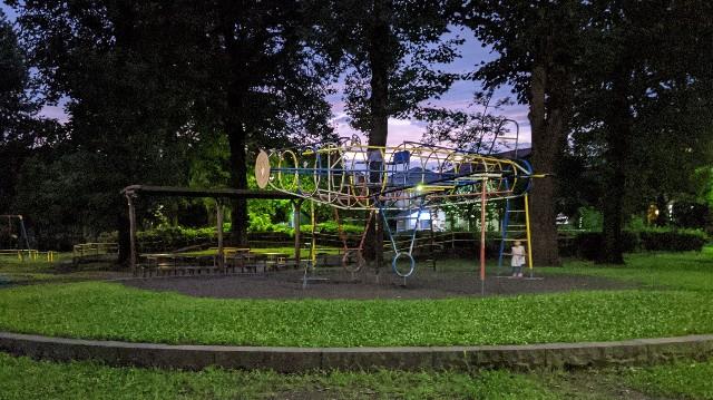 夜の公園に子供が一人いる写真